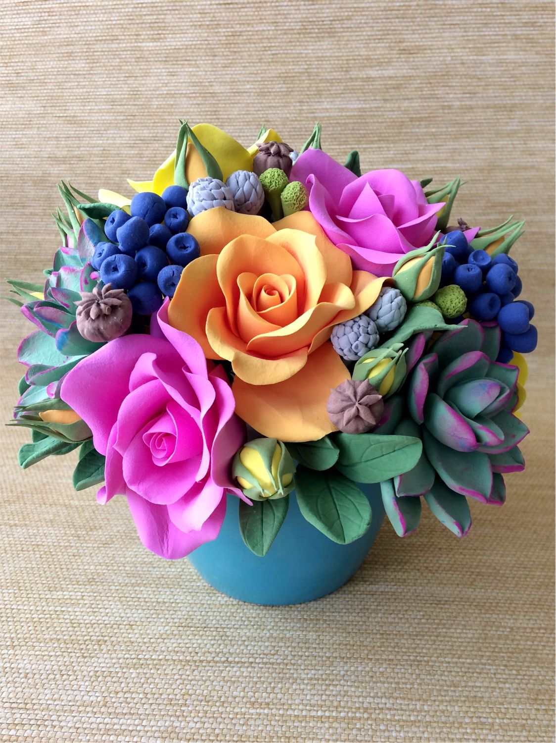 A bouquet of bright roses from polymer clay, Bouquets, Voskresensk,  Фото №1