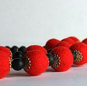 Украшения ручной работы. Ярмарка Мастеров - ручная работа Бусы красные с чёрным. Handmade.