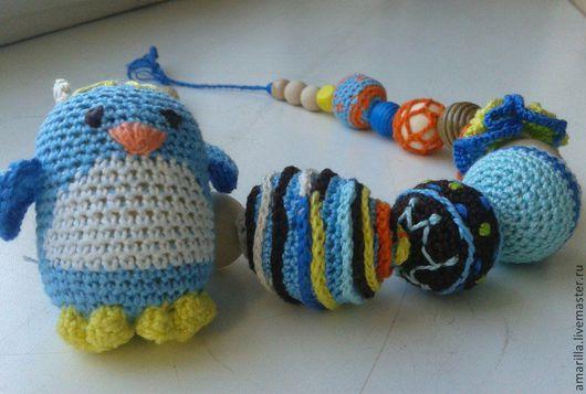 """Колье, бусы ручной работы. Ярмарка Мастеров - ручная работа. Купить Слингобусы """"Пингвин"""". Handmade. Вязаные бусы, хлопковая пряжа"""