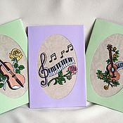 """Открытки ручной работы. Ярмарка Мастеров - ручная работа Вышитая открытка """"Музыкальная гостиная"""". Handmade."""