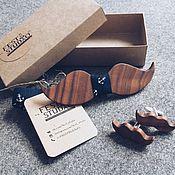 Галстуки ручной работы. Ярмарка Мастеров - ручная работа Галстук-бабочка из дерева в форме усов и запонки-усы. Handmade.