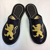 """Обувь ручной работы. Ярмарка Мастеров - ручная работа Кожаные тапочки  """"LEON"""" закрытые. Handmade."""