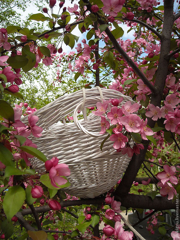 """Кашпо для цветов. Сплетено из ивовой лозы и окрашен белой эмалью.Украсит Ваш балкон, беседку в саду. Возможно изготовление настенного кашпо  """"Весна"""""""