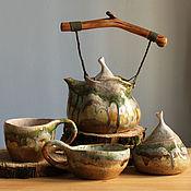 Посуда ручной работы. Ярмарка Мастеров - ручная работа мшистый чайный набор. Handmade.