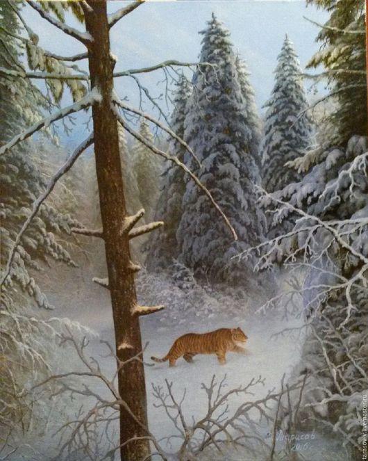 Пейзаж ручной работы. Ярмарка Мастеров - ручная работа. Купить Авторская картина Сон великой тайги. Handmade. Синий, тигр