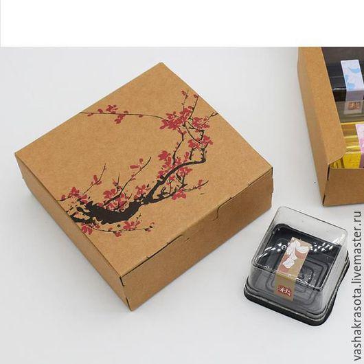 """Упаковка ручной работы. Ярмарка Мастеров - ручная работа. Купить Коробка крафт """"Сакура"""" 12х12х4,8 см. Handmade. Бежевый"""