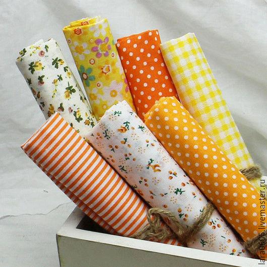 Шитье ручной работы. Ярмарка Мастеров - ручная работа. Купить Набор тканей Оранжевое настроение, хлопок. Handmade. Оранжевый, ткань
