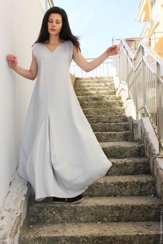 """Платья ручной работы. Ярмарка Мастеров - ручная работа. Купить Льняное Платье """" Grey Walk"""" D0034. Handmade."""