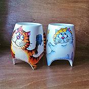 """Посуда ручной работы. Ярмарка Мастеров - ручная работа """"Сладкая парочка"""" - чашки с ножками. Handmade."""