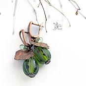"""Украшения ручной работы. Ярмарка Мастеров - ручная работа """"Зелёный крыжовник"""" серьги. Лэмпворк, омедненные листья. Handmade."""