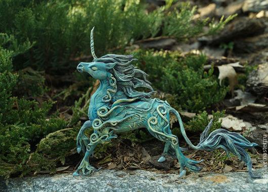 Сказочные персонажи ручной работы. Ярмарка Мастеров - ручная работа. Купить Лунный Единорог Статуэтка (бирюзовый синий волшебный ) лошадь. Handmade.