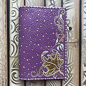 Обложки ручной работы. Ярмарка Мастеров - ручная работа Обложка на паспорт Черничной-сливочная. Handmade.