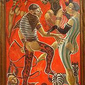Картины и панно ручной работы. Ярмарка Мастеров - ручная работа большая красная картина маслом Цирк часть триптиха. Handmade.