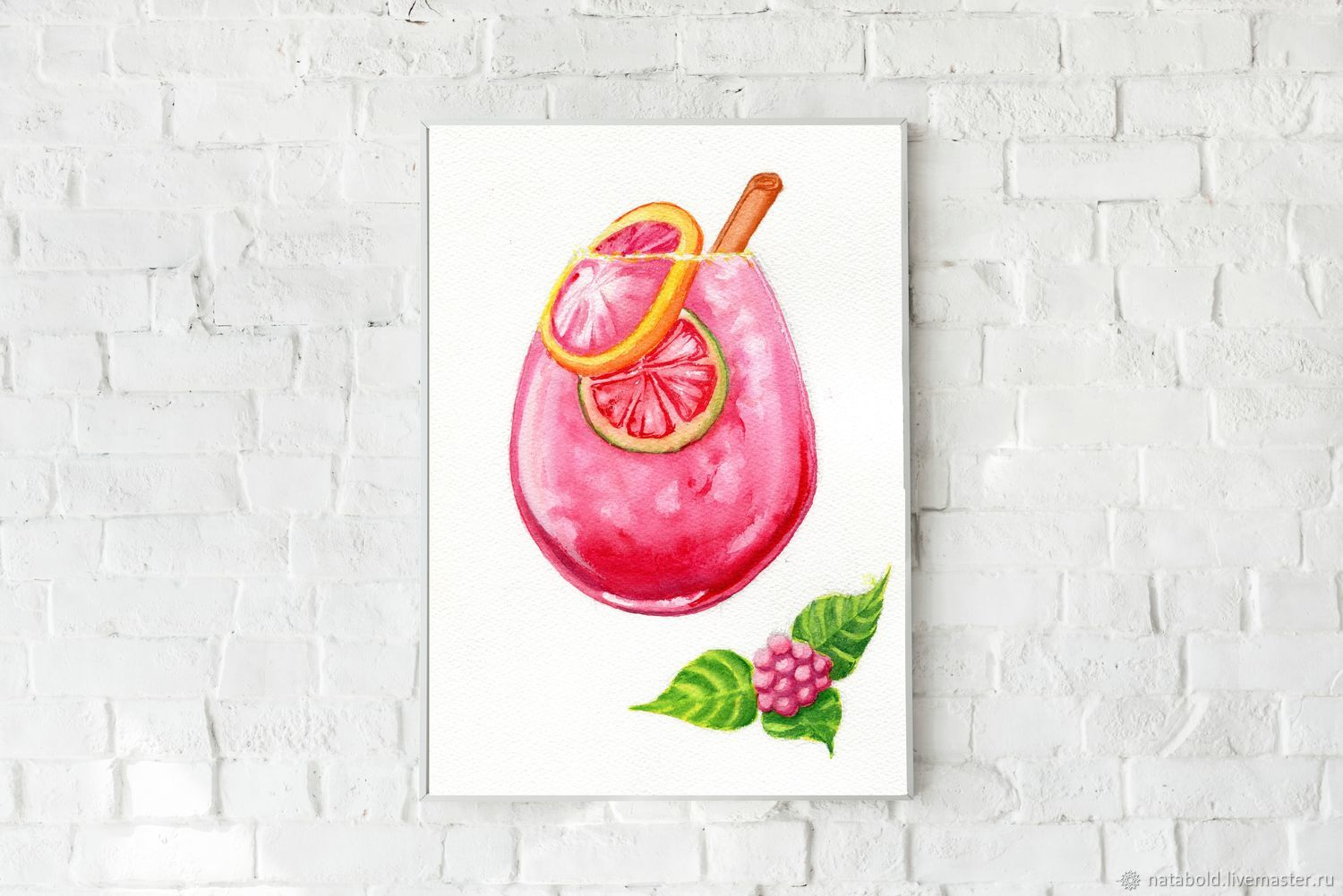Watercolor Raspberry dessert, Pictures, Rostov-on-Don,  Фото №1