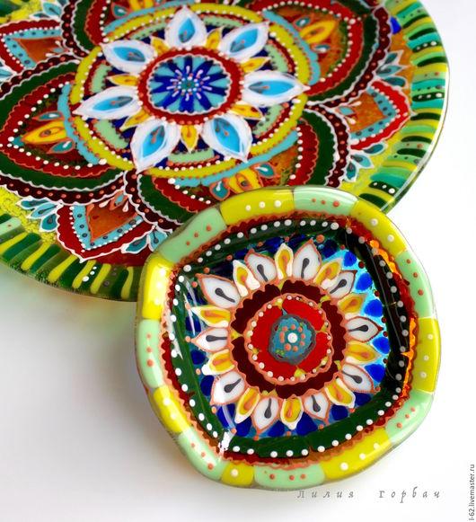 Тарелки ручной работы. Ярмарка Мастеров - ручная работа. Купить комплект посуды из стекла, фьюзинг  Восток - дело тонкое. Handmade.