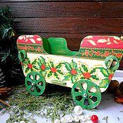 """Подарки к праздникам ручной работы. Ярмарка Мастеров - ручная работа """"С рождеством"""" - тележка-конфетница декупаж новый год. Handmade."""