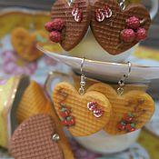"""Украшения ручной работы. Ярмарка Мастеров - ручная работа Серьги """"Вафельные сердечки"""". Handmade."""