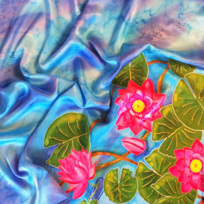 Batik shawl `Pink Lotus` 100% silk satin.Fair masters.Handmade.Buy gift girl woman.