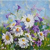 Картины и панно handmade. Livemaster - original item Bluebells and Daisies Painting is oil on canvas 17h17 cm. Handmade.