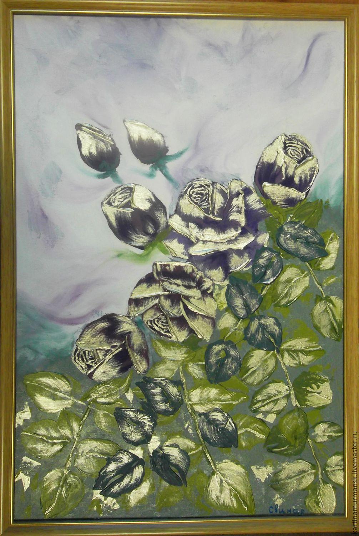 """Картина маслом цветы розы 40/60 """"Бронзовые розы"""", Pictures, Murmansk,  Фото №1"""