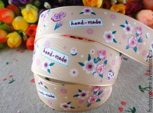 """Шитье ручной работы. Ярмарка Мастеров - ручная работа. Купить Лента-бирка атласная """"Hand made"""" 25 мм. Handmade."""