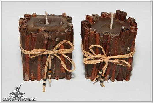 Свечи ручной работы. Ярмарка Мастеров - ручная работа. Купить Свеча «Коричный забор». Handmade. Коричневый, подарок, ваниль, парафин