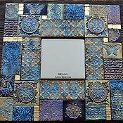 Для дома и интерьера ручной работы. Ярмарка Мастеров - ручная работа Зеркало декоративное. Синяя мозаика из полимерной глины. Handmade.