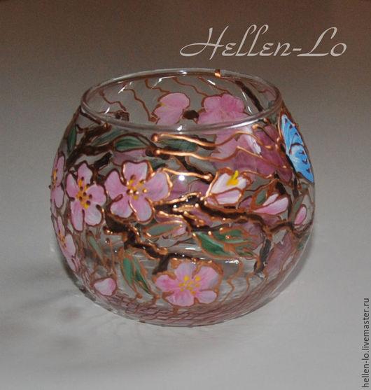 """Подсвечники ручной работы. Ярмарка Мастеров - ручная работа. Купить вазочка-подсвечник """"Весенняя"""". Handmade. Розовый, роспись стекла, подсвечники"""