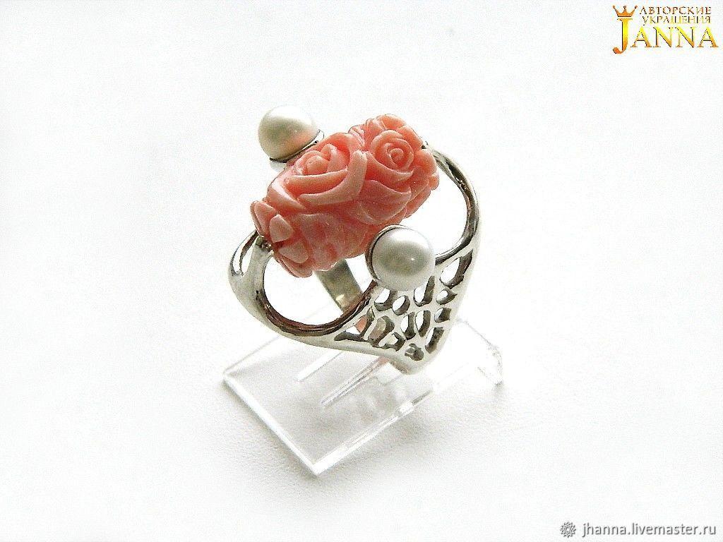 """Коралл. """"Нежность ангела"""" кольцо с резным кораллом и жемчугом, Rings, Volgograd,  Фото №1"""