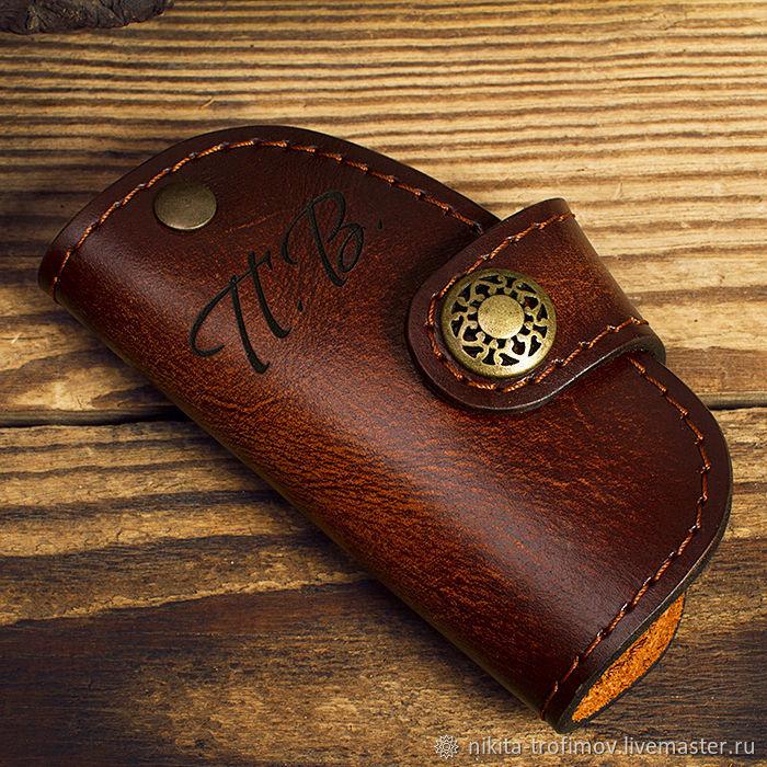 Чехол для автоключей кожаный из натуральной кожи, Ключницы, Владимир,  Фото №1