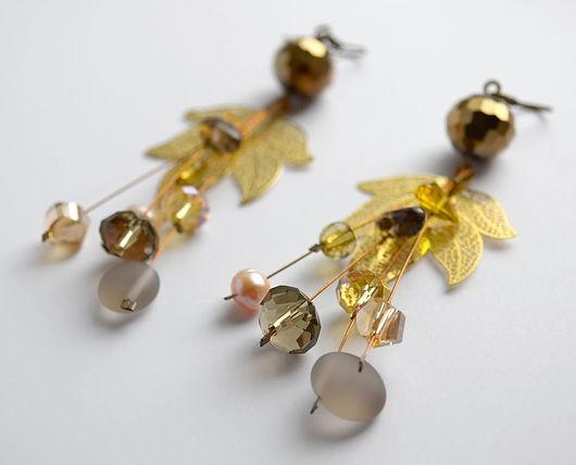 """Серьги ручной работы. Ярмарка Мастеров - ручная работа. Купить Серьги """"Gold leaf"""". Handmade. Серьги золотые, подарок"""