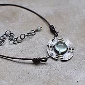 Necklace handmade. Livemaster - original item Decoration on the neck with an aquamarine, blackened silver and brass. Handmade.
