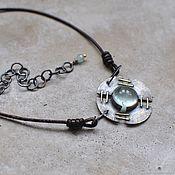 Украшения handmade. Livemaster - original item Decoration on the neck with an aquamarine, blackened silver and brass. Handmade.