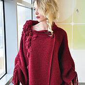 """Одежда ручной работы. Ярмарка Мастеров - ручная работа Жакет вязаный """" Водопад из роз"""" цвет марсала. Handmade."""