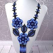 Украшения handmade. Livemaster - original item Decoration on the neck Blue flowers. Handmade.