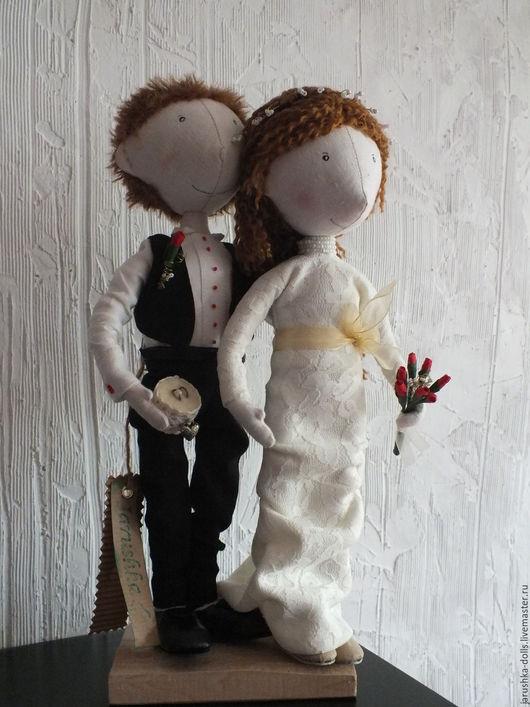 Куклы тыквоголовки ручной работы. Ярмарка Мастеров - ручная работа. Купить Свадебная парочка. Handmade. Белый, свадьба, день свадьбы
