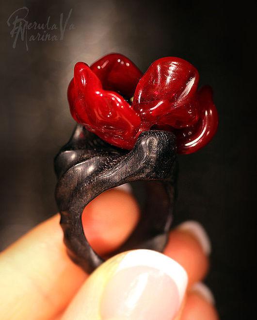 Rings handmade. Livemaster - handmade. Buy Ring 'Moment of eternity'.Marina berulava, lampwork, ebony