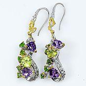 Украшения handmade. Livemaster - original item Earrings with peridot, amethyst and chrome diopside.. Handmade.