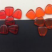 Материалы для творчества ручной работы. Ярмарка Мастеров - ручная работа Бусины крупные карамельки чешское стекло 23 x 22 мм красные оранжевые. Handmade.