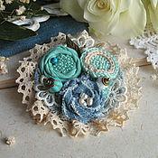 """Украшения ручной работы. Ярмарка Мастеров - ручная работа """"Нежность мяты"""" брошь бохо цветок голубой. Handmade."""