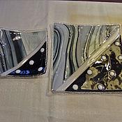 """Посуда ручной работы. Ярмарка Мастеров - ручная работа Набор тарелок """"белый горох на черном"""".Стекло.Фьюзинг.. Handmade."""