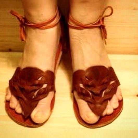 Обувь ручной работы. Ярмарка Мастеров - ручная работа. Купить Сандалии рыжие из кожи легкие. Handmade. Обувь ручной работы