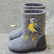 Обувь ручной работы. Ярмарка Мастеров - ручная работа Валенки с синицами.. Handmade.