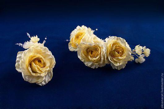 """Цветы ручной работы. Ярмарка Мастеров - ручная работа. Купить Цветы из ткани. Комплект """"Свадьба"""". Handmade. Лимонный, цветок из ткани"""