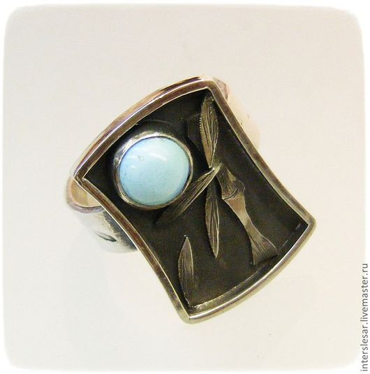 """Кольца ручной работы. Ярмарка Мастеров - ручная работа. Купить Перстень с бирюзой """"Бамбук"""". Handmade. Серебро, бамбук, бирюза"""