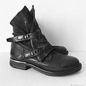 Винтажная обувь ручной работы. Ярмарка Мастеров - ручная работа Проданы! Черные кожаные ботильоны на низком каблуке, 36 р-р. Handmade.