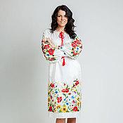 Одежда ручной работы. Ярмарка Мастеров - ручная работа Вышитое платье  Полевые цветы ручная вышивка. Handmade.