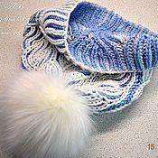 Аксессуары ручной работы. Ярмарка Мастеров - ручная работа Вязаная двусторонняя шапка бело-голубая. Handmade.