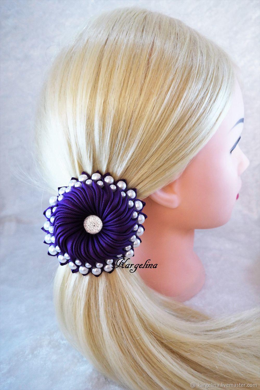 Dark Purple Elastic Hair Ties, Dark Purple Bun Holder, Ribbon Hair Tie, Ties, Berlin, Фото №1