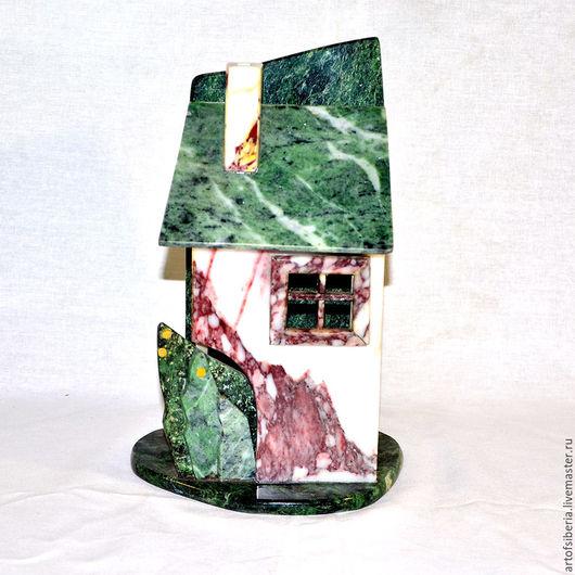 Статуэтки ручной работы. Ярмарка Мастеров - ручная работа. Купить Домик из камня (Яшма, Змеевик, мрамор) для декора дома и сада D2. Handmade.